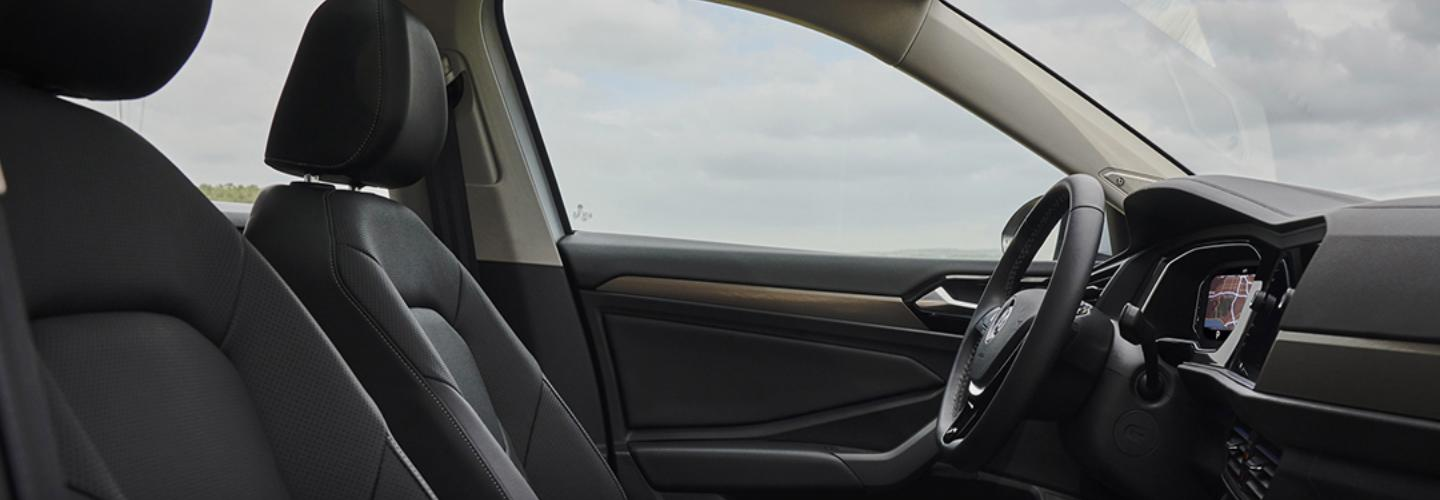 Full interior view of the 2021 Jetta from the passenger side