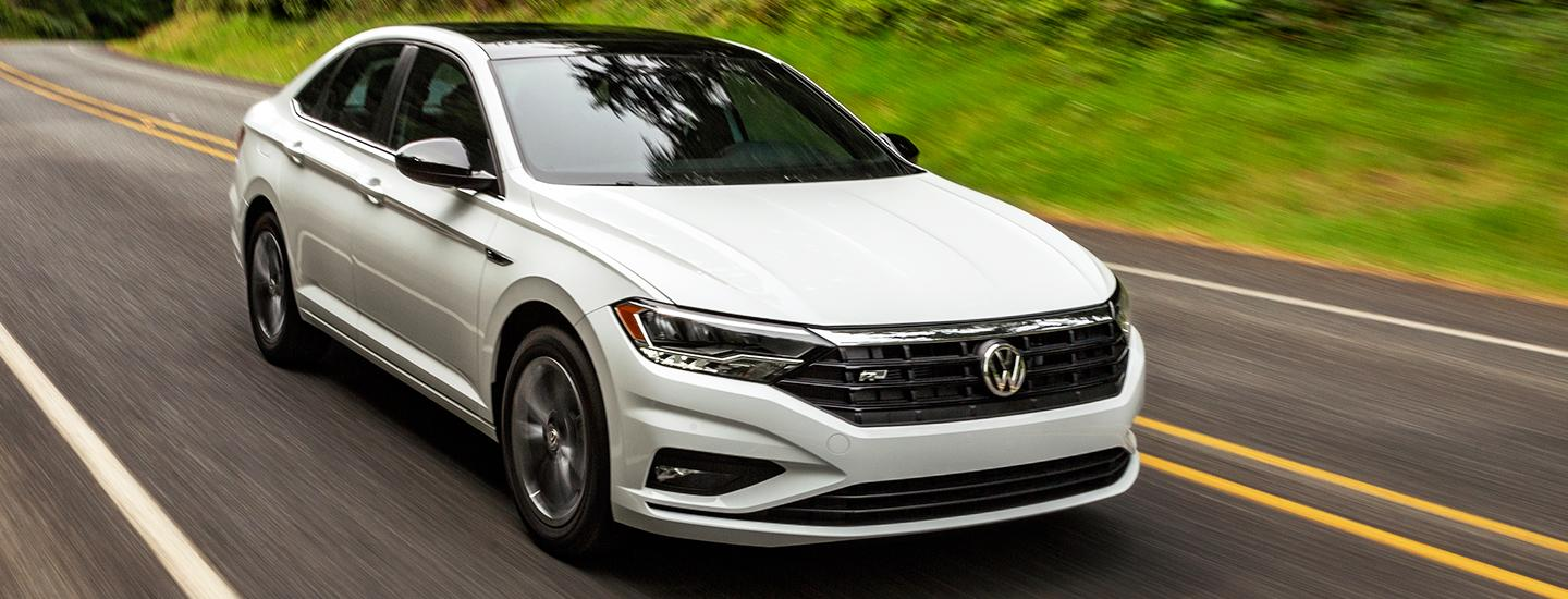 Front view of the 2021 Jetta in motion