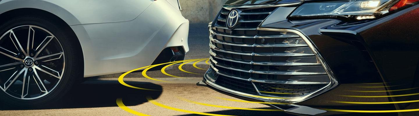 A visualization of a Toyota Avalon's Safety Sense feature