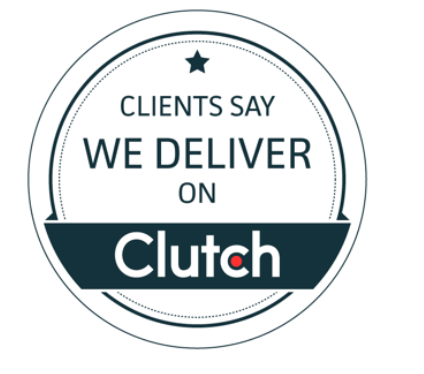 "Stamp saying ""Clients say we deliver on Clutch"""