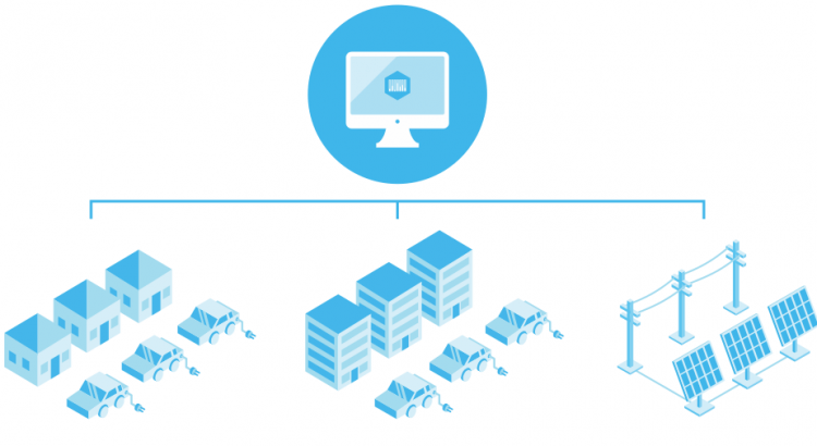 blue illustration of a computer connected to houses, industry buildings and solar panels.
