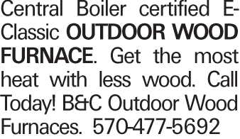 Central Boiler certified E-Classic OUTDOOR WOOD FURNACE. Get the most heat with less wood. Call today! B&C Outdoor Wood Furnaces. 570-477-5692