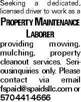 Seeking a dedicated, licensed driver to work as a Property Maintenance Laborer providing mowing, mulching, property cleanout services. Seriousinquiries only. Please contact via email fspaid@spaidsllc.com or 570-441-4666