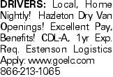Drivers: Local, Home Nightly! Hazleton Dry Van Openings! Excellent Pay, Benefits! CDL-A, 1yr Exp. Req. Estenson Logistics Apply: www.goelc.com 866-213-1065