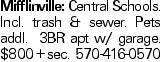 Mifflinville: Central Schools. Incl. trash & sewer. Pets addl. 3BR apt w/ garage. $800 + sec. 570-416-0570