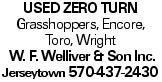 used Zero Turn Grasshoppers, Encore, Toro, Wright W. F. Welliver & Son Inc. Jerseytown 570-437-2430