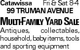 CatawissaFri & Sat 8-4 99 Truman Avenue Multi-Family Yard Sale Antiques, collectables, household, baby items, tools and sporting equipment