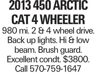 2013 450 ARCTIC CAT 4 WHEELER 980 mi. 2 & 4 wheel drive. Back up lights. Hi & low beam. Brush guard. Excellent condt. $3800. Call 570-759-1647
