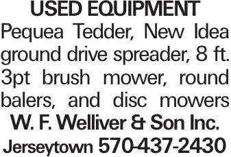 used Equipment Pequea Tedder, New Idea ground drive spreader, 8 ft. 3pt brush mower, round balers, and disc mowers W. F. Welliver & Son Inc. Jerseytown 570-437-2430