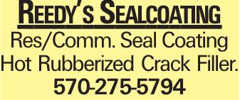 Reedy's Sealcoating Res/Comm. Seal Coating Hot Rubberized Crack Filler. 570-275-5794
