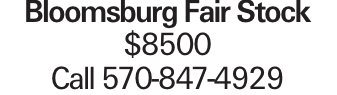 Bloomsburg Fair Stock $8500 Call 570-847-4929