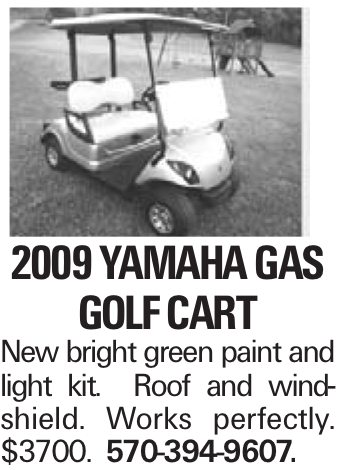 2009 Yamaha Gas golf cart New bright green paint and light kit. Roof and windshield. Works perfectly. $3700. 570-394-9607.