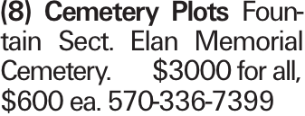 (8) Cemetery Plots Fountain Sect. Elan Memorial Cemetery.$3000 for all,$600 ea. 570-336-7399