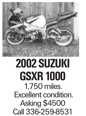 2002 suzuki gsxr 1000 1,750 miles. Excellent condition. Asking $4500 Call 336-259-8531