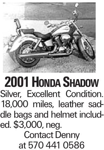 2001 Honda Shadow Silver, Excellent Condition. 18,000 miles, leather saddle bags and helmet included. $3,000, neg. Contact Denny at 570 441 0586