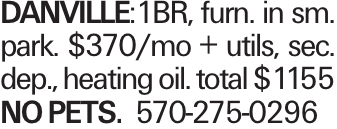 DANVILLE:1BR, furn. in sm. park. $370/mo + utils, sec. dep., heating oil. total $1155 NOPETS. 570-275-0296