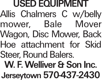 used Equipment Allis Chalmers C w/belly mower, Bale Mover Wagon, Disc Mower, Back Hoe attachment for Skid Steer, Round Balers. W. F. Welliver & Son Inc. Jerseytown 570-437-2430