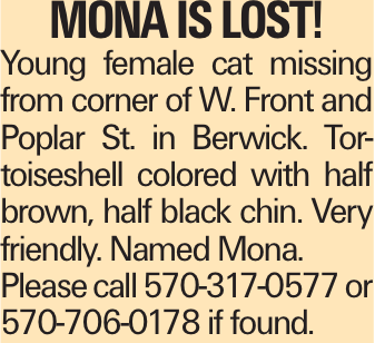 Mona is lost! Young female cat missing from corner of W. Front and Poplar St. in Berwick. Tortoiseshell colored with half brown, half black chin. Very friendly. Named Mona. Please call 570-317-0577 or 570-706-0178 if found.