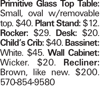 Primitive Glass Top Table: Small, oval w/removable top. $40. Plant Stand: $12. Rocker: $29. Desk: $20. Child's Crib: $40. Bassinet: White. $45. Wall Cabinet: Wicker. $20. Recliner: Brown, like new. $200. 570-854-9580