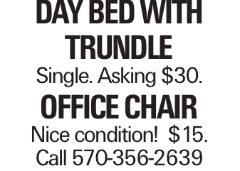 Day Bed with Trundle Single. Asking $30. Office Chair Nice condition! $15. Call 570-356-2639