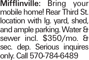 Mifflinville: Bring your mobile home! Rear Third St. location with lg. yard, shed, and ample parking. Water & sewer incl. $350/mo. & sec. dep. Serious inquires only. Call 570-784-6489