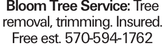 Bloom Tree Service: Tree removal, trimming. Insured. Free est. 570-594-1762