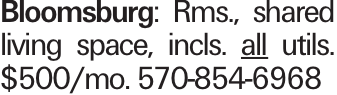 Bloomsburg: Rms., shared living space, incls. all utils. $500/mo. 570-854-6968