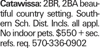Catawissa: 2BR, 2BA beautiful country setting. Southern Sch. Dist. Incls. all appl. No indoor pets. $550 + sec. refs. req. 570-336-0902