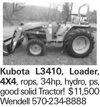Kubota L3410, Loader, 4X4, rops, 34hp, hydro, ps, good solid Tractor! $11,500 Wendell 570-234-8888
