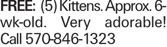 FREE:(5) Kittens. Approx. 6-wk-old. Very adorable! Call 570-846-1323