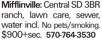 Mifflinville: Central SD 3BR ranch, lawn care, sewer, water incl. No pets/smoking. $900+sec. 570-764-3530