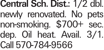 Central Sch. Dist.: 1/2 dbl. newly renovated. No pets non-smoking. $700+ sec. dep. Oil heat. Avail. 3/1. Call 570-784-9566