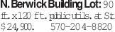 N. Berwick Building Lot: 90 ft. x 120 ft. public utils. at St. $24,900.570-204-8820