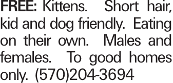 FREE:Kittens. Short hair, kid and dog friendly. Eating on their own. Males and females. To good homes only. (570)204-3694