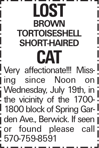 Lost brown tortoiseshell short-haired cat Very affectionate!!! Missing since Noon on Wednesday, July 19th, in the vicinity of the 1700-1800 block of Spring Garden Ave., Berwick. If seen or found please call 570-759-8591