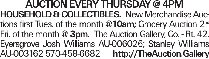 AUction every thursday @ 4pm Household &Collectibles. New Merchandise Auctions first Tues. of the month @10am; Grocery Auction 2nd Fri. of the month @ 3pm. The Auction Gallery, Co. - Rt. 42, Eyersgrove Josh Williams AU-006026; Stanley Williams AU-003162 570-458-6682 http://TheAuction.Gallery