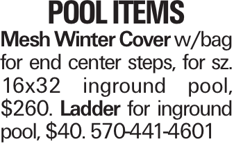 POOL ITEMS Mesh Winter Cover w/bag for end center steps, for sz. 16x32 inground pool, $260. Ladder for inground pool, $40. 570-441-4601