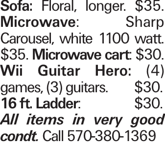 Sofa: Floral, longer. $35. Microwave: Sharp Carousel, white 1100 watt. $35. Microwave cart: $30. Wii Guitar Hero: (4) games, (3) guitars.$30. 16 ft. Ladder:$30. All items in very good condt. Call 570-380-1369
