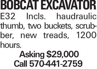 BOBCATEXCAVATOR E32 Incls. haudraulic thumb, two buckets, scrubber, new treads, 1200 hours. Asking $29,000 Call 570-441-2759