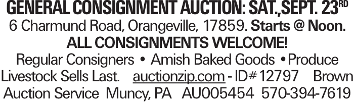 general consignment auction: Sat.,sept. 23rd 6 Charmund Road, Orangeville, 17859. Starts @ Noon. All consignments welcome! Regular Consigners -- Amish Baked Goods --Produce Livestock Sells Last. auctionzip.com - ID#12797 Brown Auction Service Muncy, PA AU005454 570-394-7619