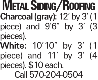"Metal Siding/Roofing Charcoal (gray): 12' by 3' (1 piece) and 9'6"" by 3' (3 pieces). White: 10'10"" by 3' (1 piece) and 11' by 3' (4 pieces). $10 each. Call 570-204-0504"