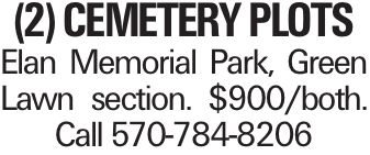 (2) Cemetery Plots Elan Memorial Park, Green Lawn section. $900/both. Call 570-784-8206