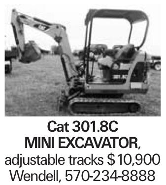 Cat 301.8C mini excavator, adjustable tracks $10,900 Wendell, 570-234-8888