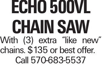 """Echo 500VL chain saw With (3) extra """"like new"""" chains. $135 or best offer. Call 570-683-5537"""