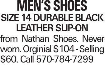 Men's Shoes size 14 durable black leather slip-on from Nathan Shoes. Never worn. Orginial $104 - Selling $60. Call 570-784-7299