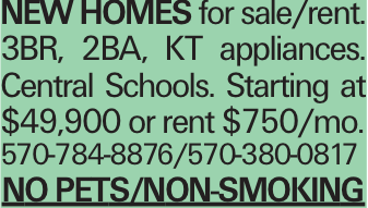 New homes for sale/rent. 3BR, 2BA, KT appliances. Central Schools. Starting at $49,900 or rent $750/mo. 570-784-8876/570-380-0817 No Pets/Non-Smoking