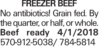 Freezer Beef No antibiotics! Grain fed. By the quarter, or half, or whole. Beef ready 4/1/2018 570-912-5038/ 784-5814
