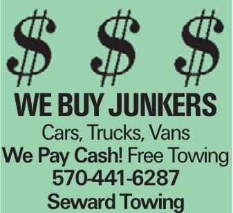 we buy junkers Cars, Trucks, Vans We Pay Cash! Free Towing 570-441-6287 Seward Towing
