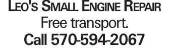 Leo's Small Engine Repair Free transport. Call 570-594-2067