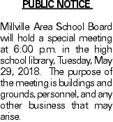 Public Notice Millville Area School Board will hold a special meeting at 6:00 p.m. in the high school library, Tuesday, May 29, 2018. The purpose of the meeting is buildings and grounds, personnel, and any other business that may arise.